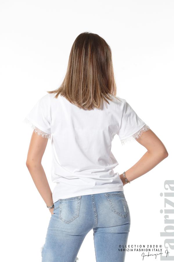 Блуза с дантела и надпис London бял 5 fabrizia