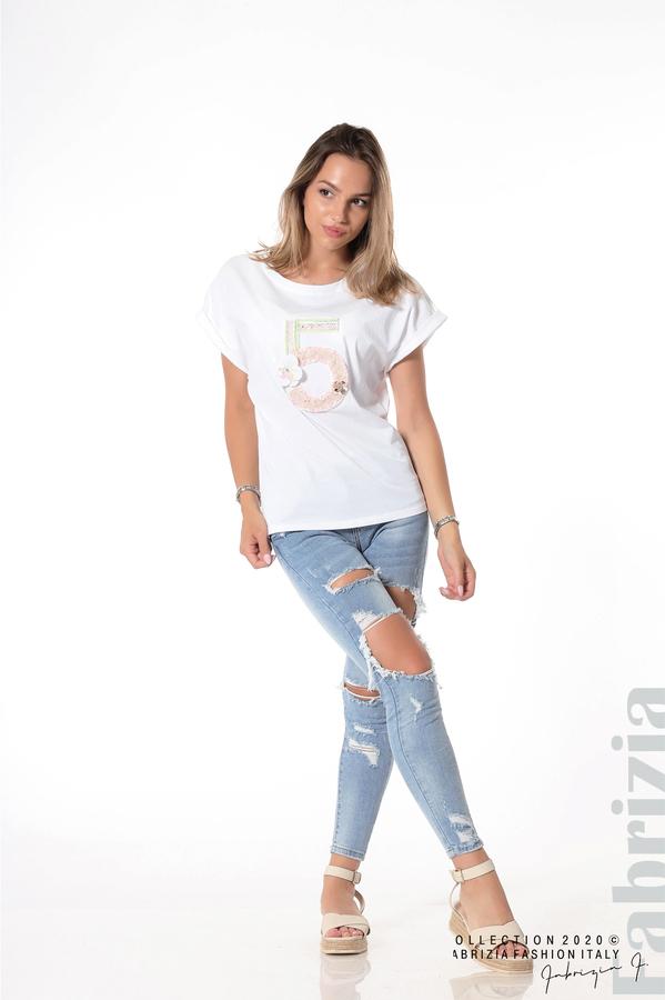 Блуза с декорация бял 4 fabrizia