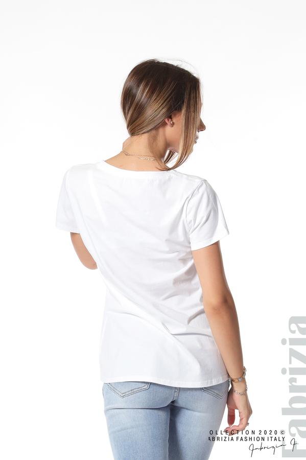 Блуза с щампа и надпис бял 5 fabrizia
