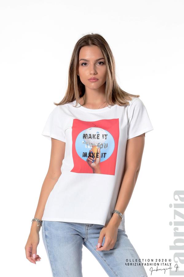 Блуза с щампа и надпис бял 1 fabrizia