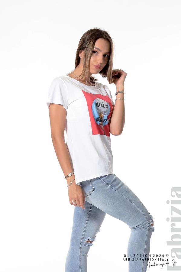 Блуза с щампа и надпис бял 2 fabrizia