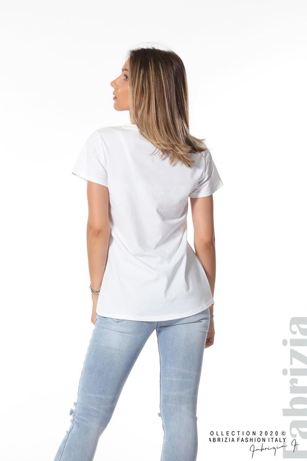 Блуза с щампа и надпис бял 3 fabrizia
