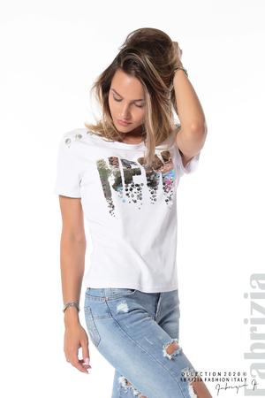 Блуза с копчета и надпис NEW
