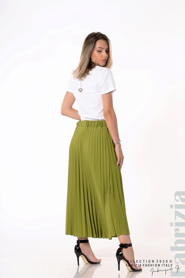 Едноцветна плисирана пола зелен 1 fabrizia