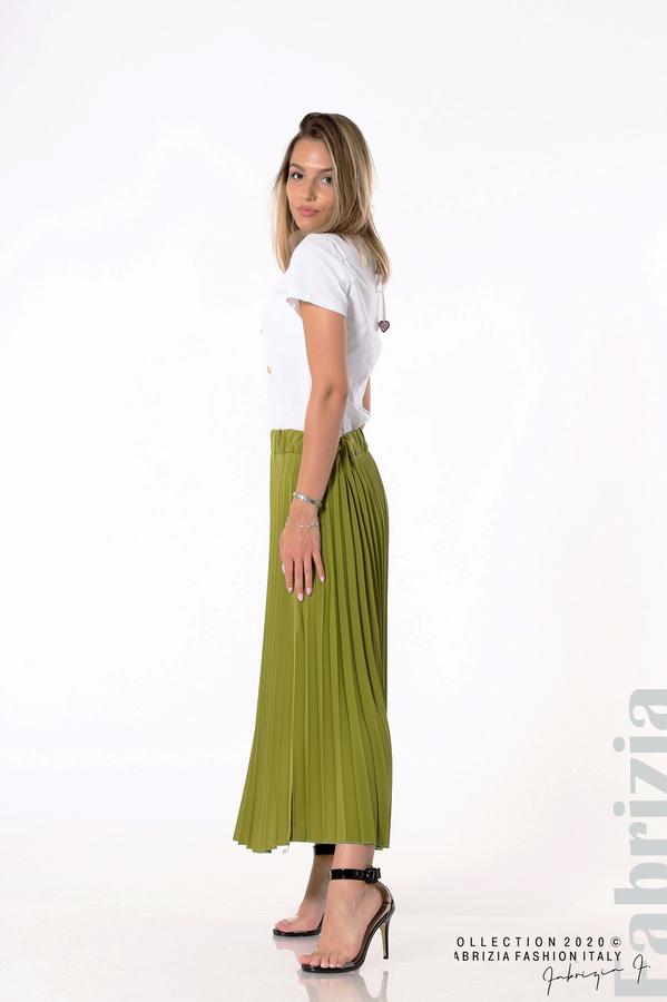 Едноцветна плисирана пола зелен 3 fabrizia