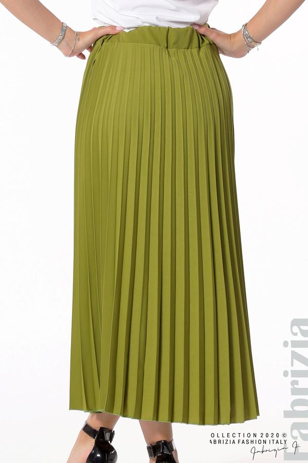 Едноцветна плисирана пола зелен 4 fabrizia