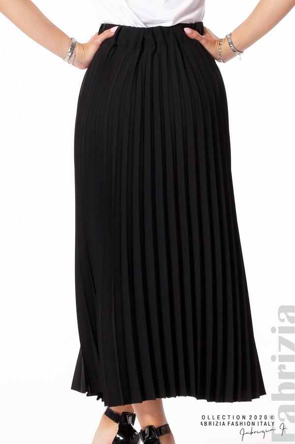 Едноцветна плисирана пола черен 4 fabrizia
