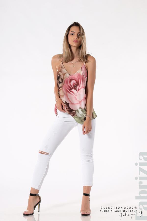 Дамски топ на големи цветя бежов/зелен 3 fabrizia