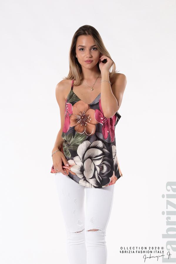 Дамски топ на големи цветя черен/лилав 2 fabrizia