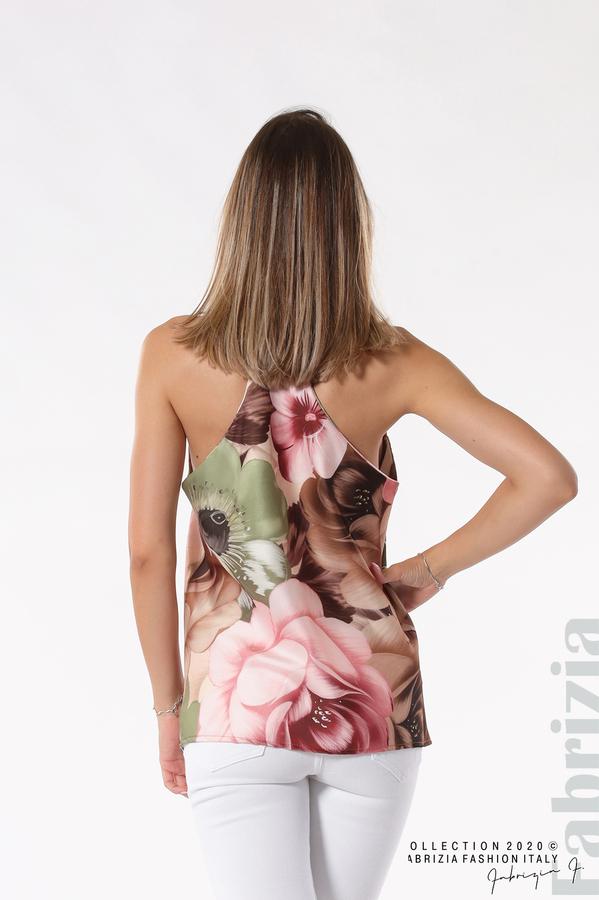 Дамски топ на големи цветя бежов/зелен 5 fabrizia