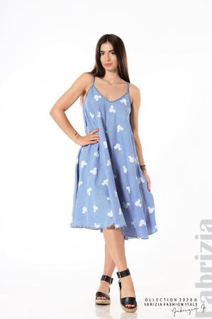 Разкроена рокля с тънки презрамки