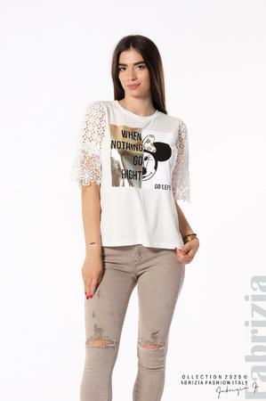Блуза с принт и нежни ръкави