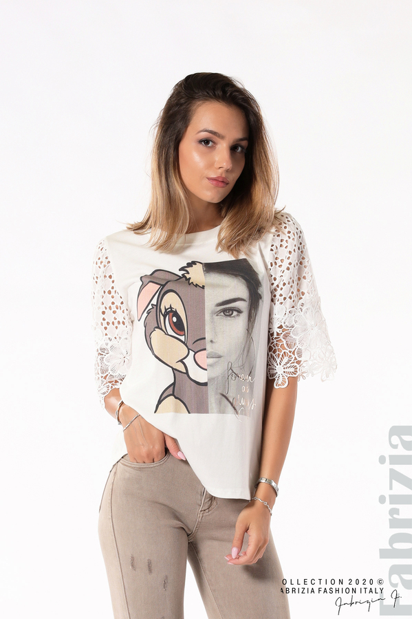 Блуза с принт и дантелени ръкави екрю 1 fabrizia