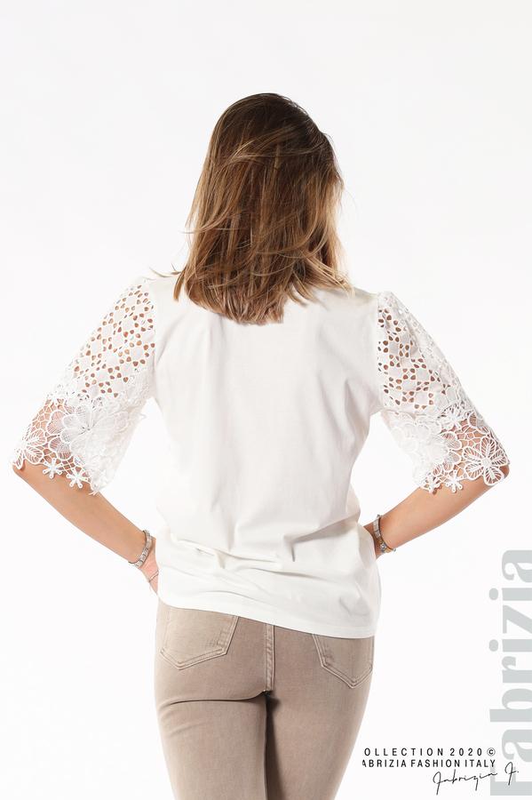 Блуза с принт и дантелени ръкави екрю 4 fabrizia