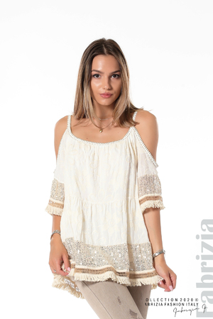 Блуза с изрязани рамене и пайети