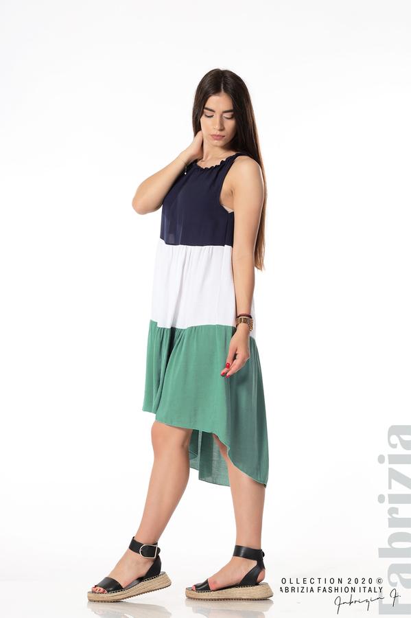 Свободна трицветна рокля зелен 2 fabrizia