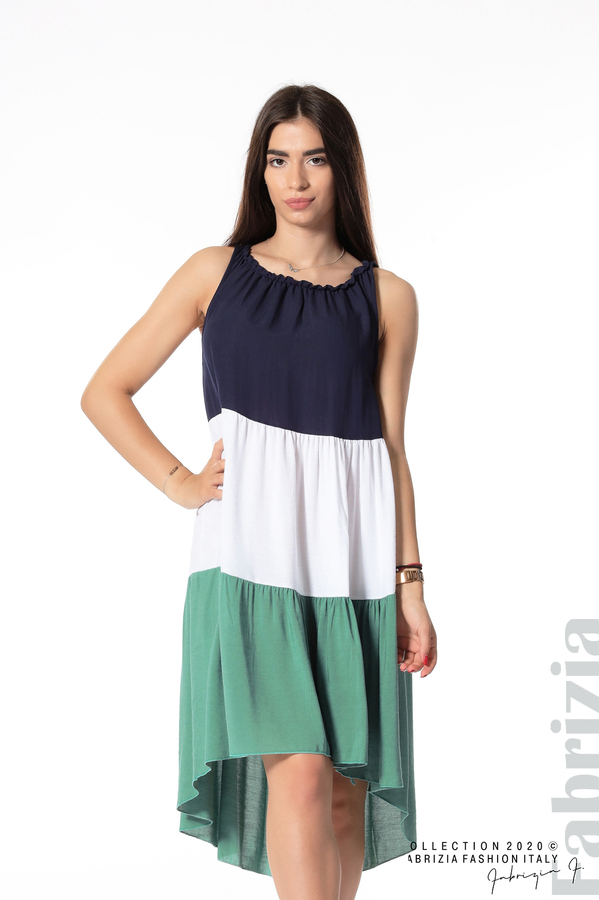 Свободна трицветна рокля зелен 1 fabrizia