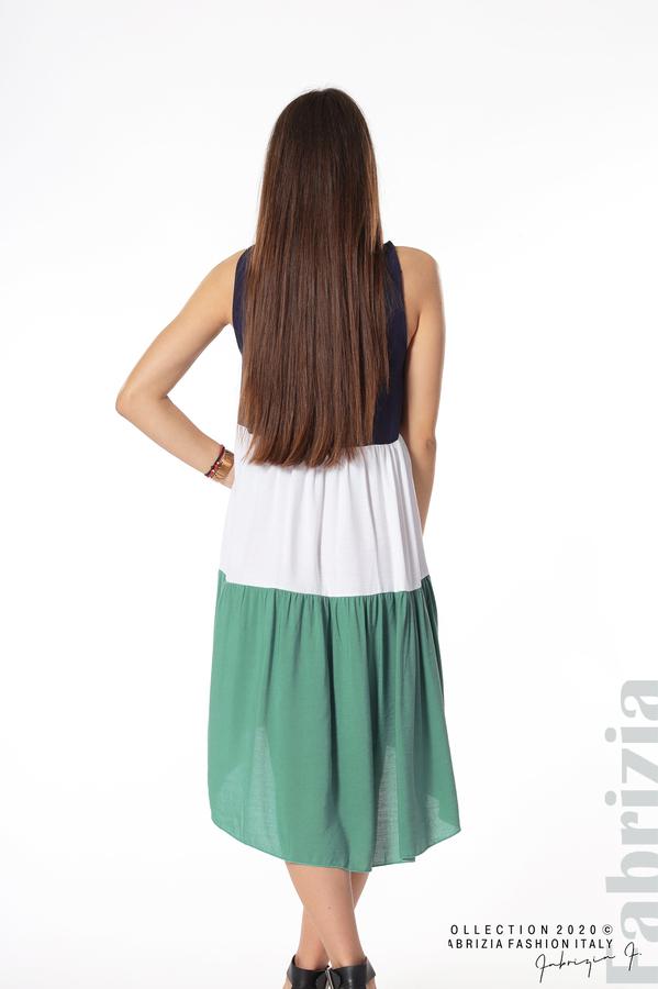 Свободна трицветна рокля зелен 3 fabrizia