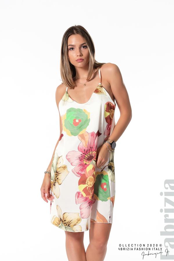 Ефирна рокля с тънки презрамки бял 1 fabrizia