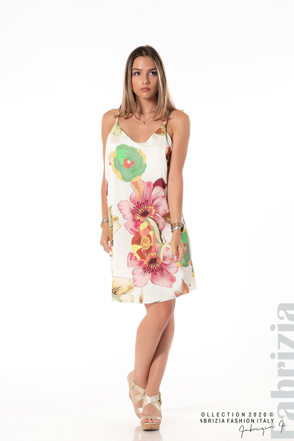 Ефирна рокля с тънки презрамки бял 3 fabrizia