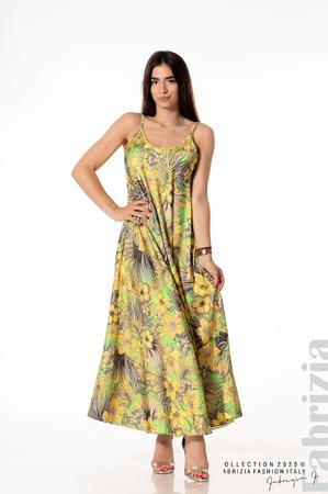 Дълга рокля на жълти цветя
