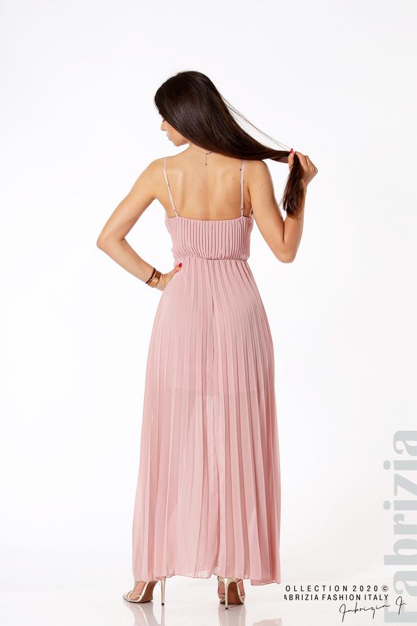Плисирана дълга рокля пепел от рози 4 fabrizia