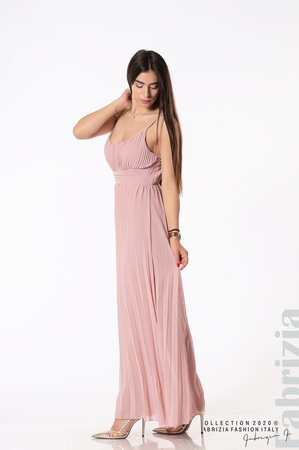 Плисирана дълга рокля пепел от рози 3 fabrizia