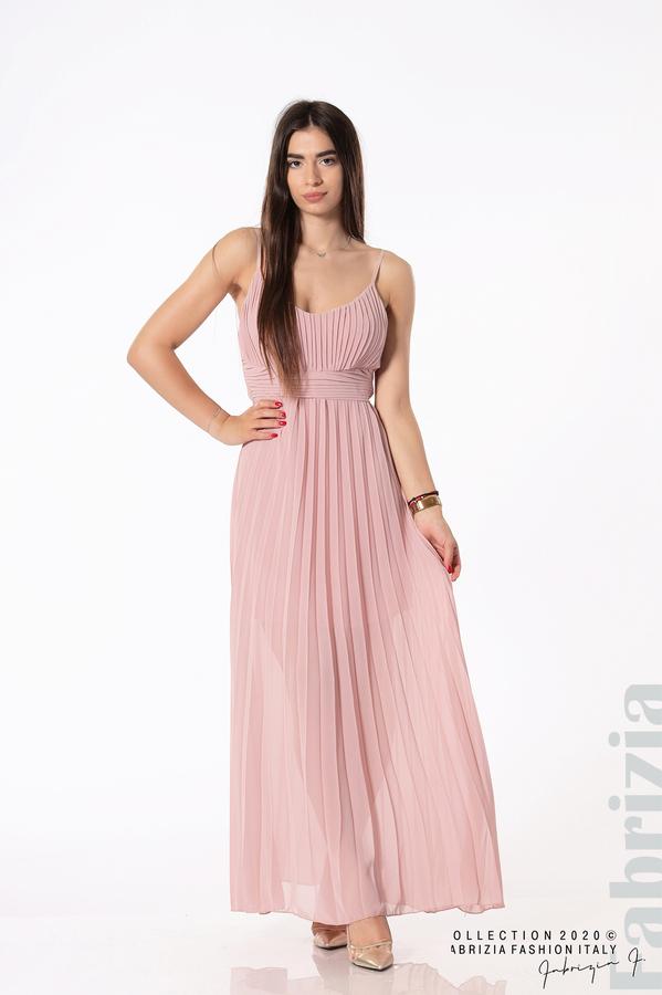 Плисирана дълга рокля пепел от рози 1 fabrizia