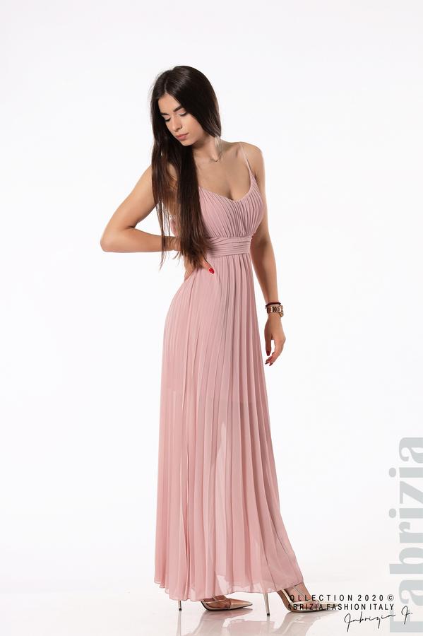 Плисирана дълга рокля пепел от рози 2 fabrizia