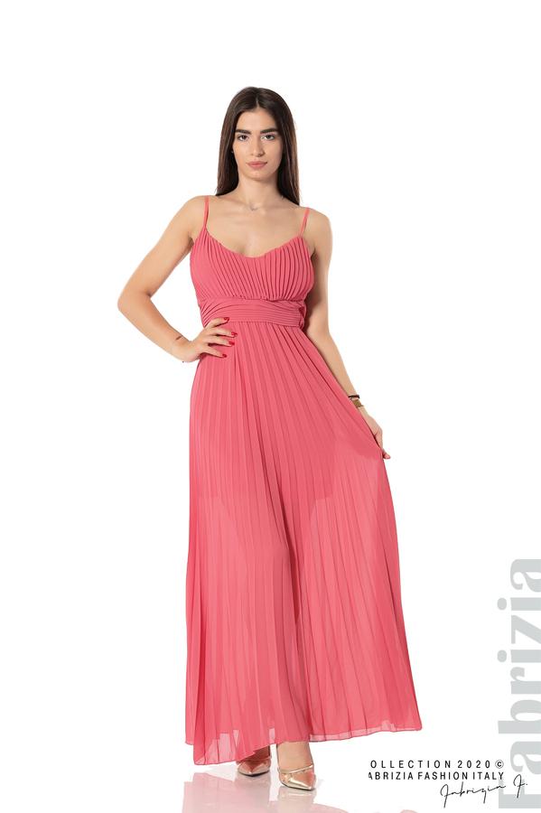 Плисирана дълга рокля корал 1 fabrizia