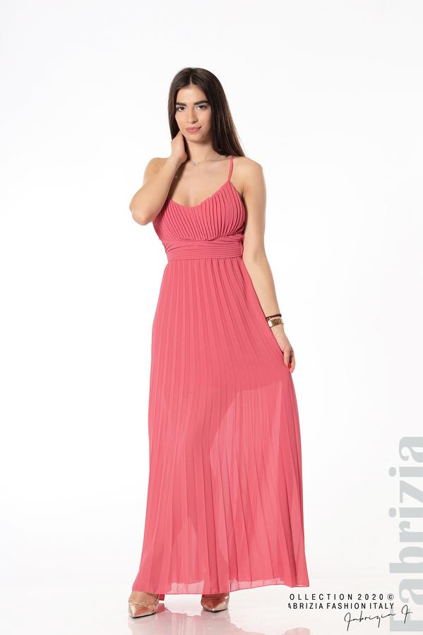 Плисирана дълга рокля корал 3 fabrizia