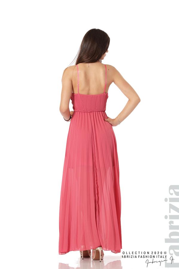 Плисирана дълга рокля корал 4 fabrizia