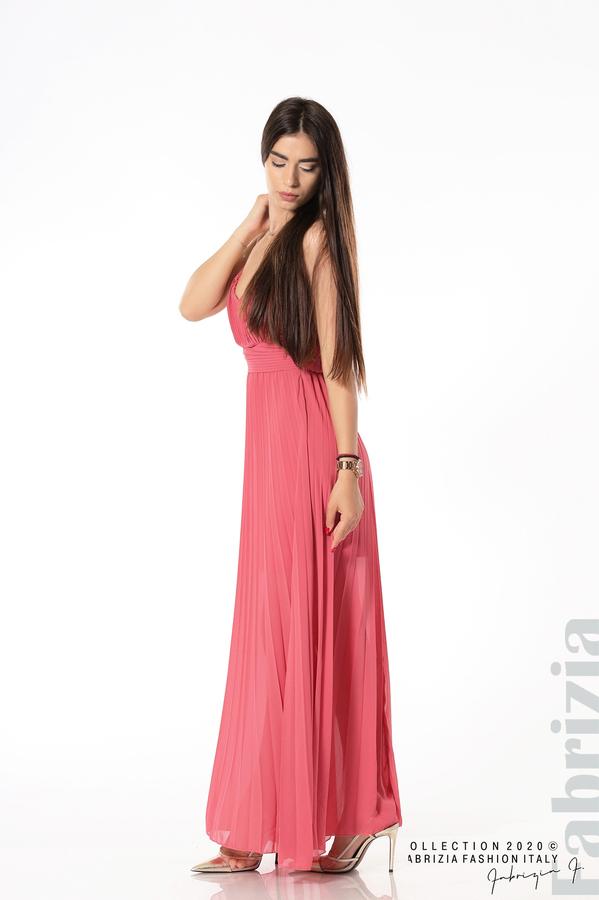 Плисирана дълга рокля корал 2 fabrizia