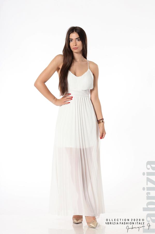 Плисирана дълга рокля бял 1 fabrizia