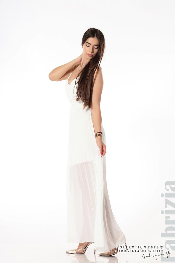 Плисирана дълга рокля бял 3 fabrizia
