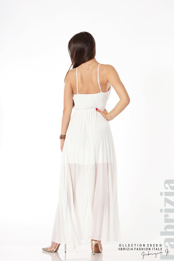 Плисирана дълга рокля бял 4 fabrizia
