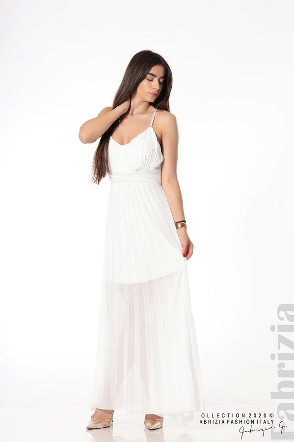 Плисирана дълга рокля бял 2 fabrizia