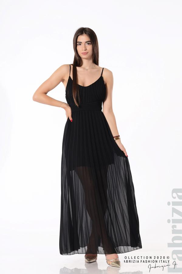 Плисирана дълга рокля черен 1 fabrizia