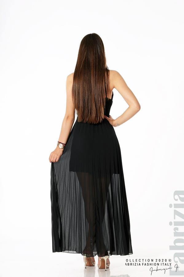 Плисирана дълга рокля черен 3 fabrizia