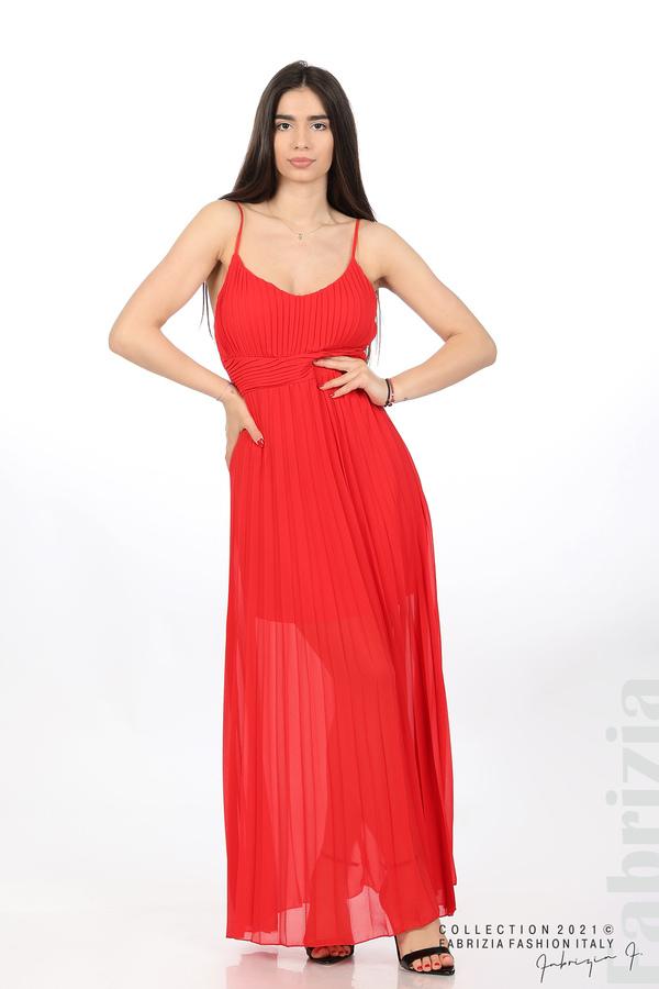 Плисирана дълга рокля червен 1 fabrizia