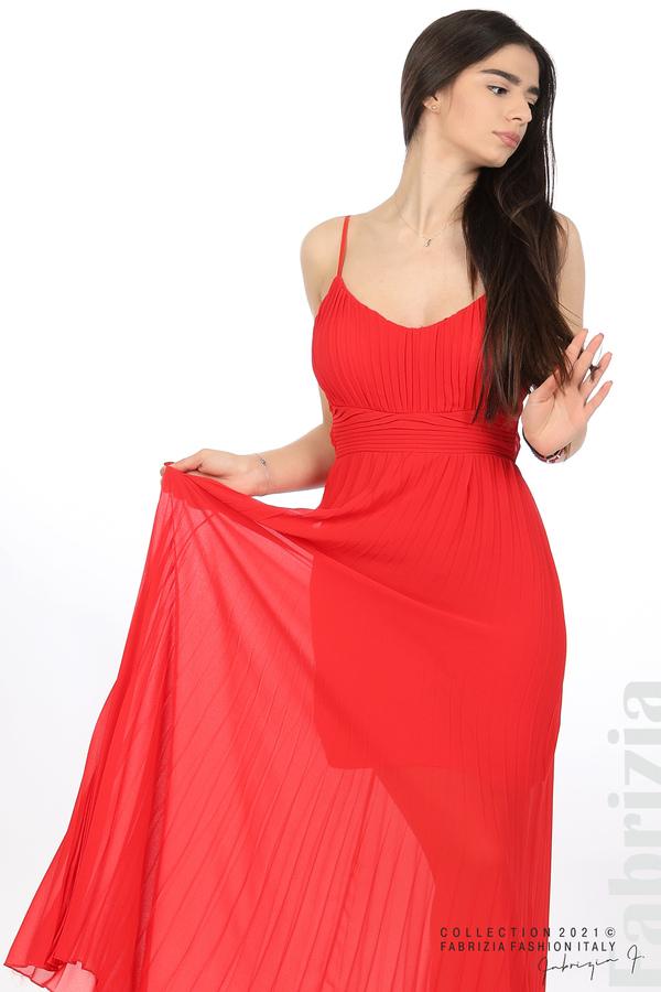 Плисирана дълга рокля червен 5 fabrizia