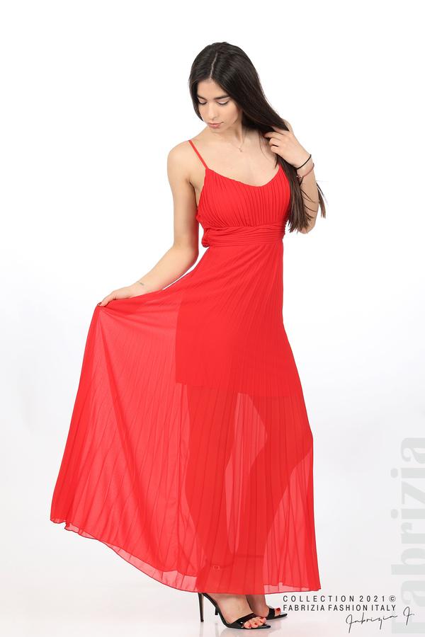 Плисирана дълга рокля червен 3 fabrizia