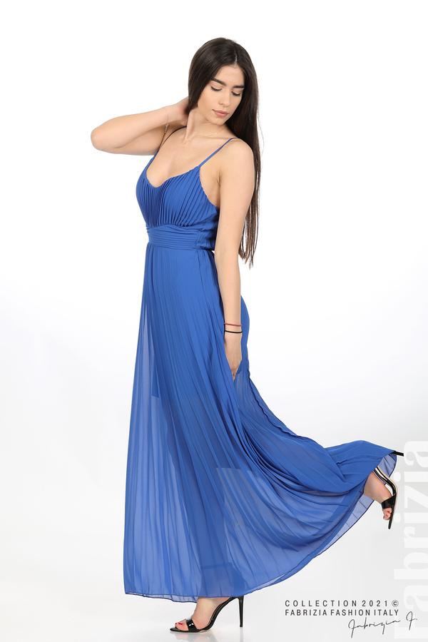 Плисирана дълга рокля син 4 fabrizia