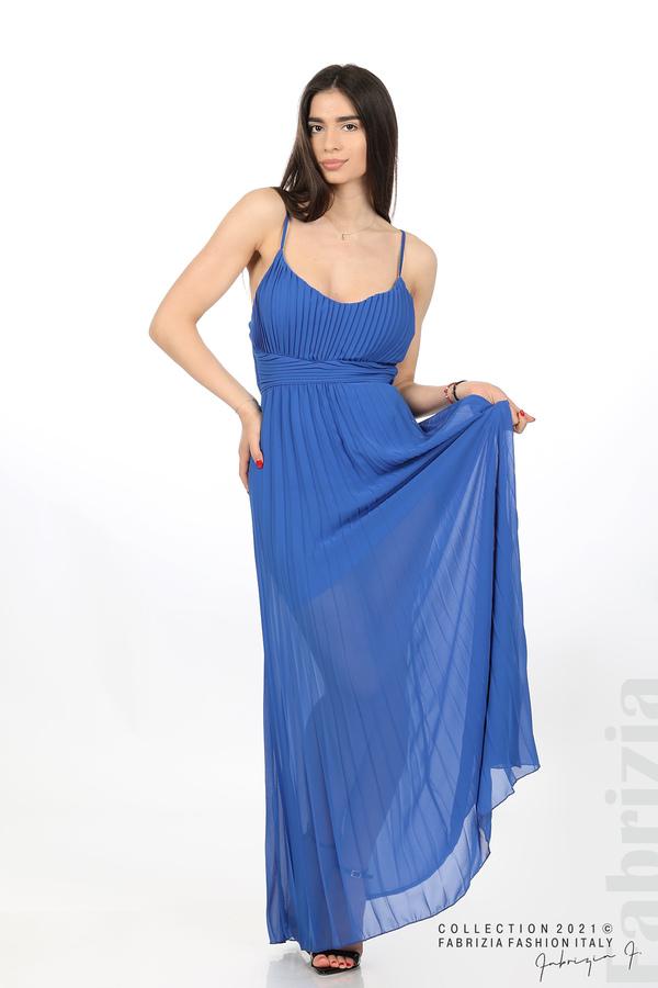 Плисирана дълга рокля син 1 fabrizia