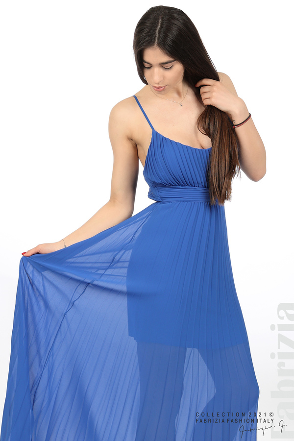 Плисирана дълга рокля син 3 fabrizia