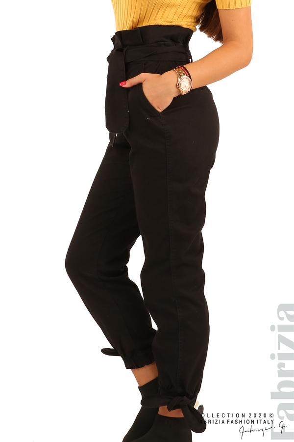 Широк панталон с акцент на талията и крачолите-черен-5