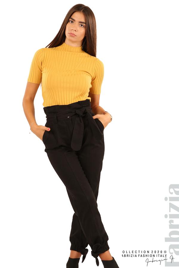 Широк панталон с акцент на талията и крачолите-черен-1