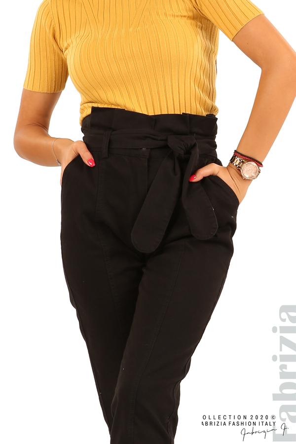 Широк панталон с акцент на талията и крачолите-черен-4