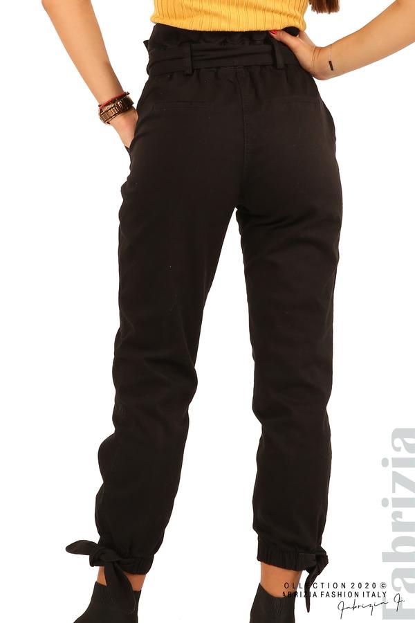 Широк панталон с акцент на талията и крачолите-черен-8