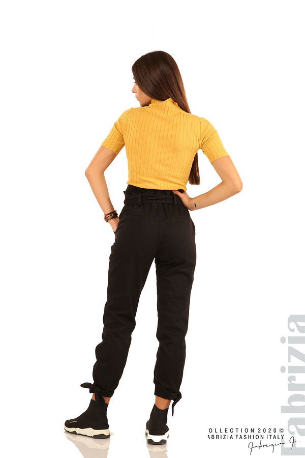 Широк панталон с акцент на талията и крачолите-черен-7